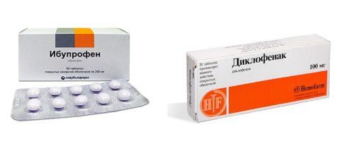 Таблетки Диклофенак и Ибупрофен при остеоартрозе позвоночника