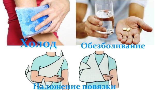 Первая помощь при травмах локтя