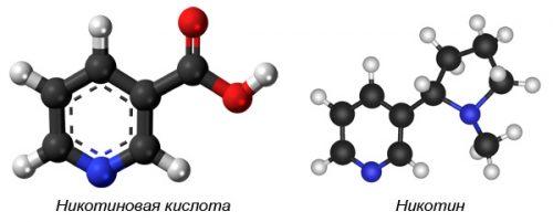 Структурные формулы никотиновой кислоты и никотина