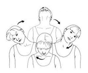 Круговые движения головой на стуле