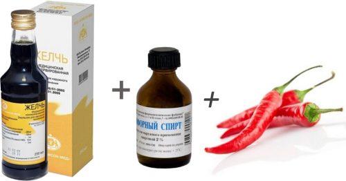 Ингредиенты для настойки с желчью