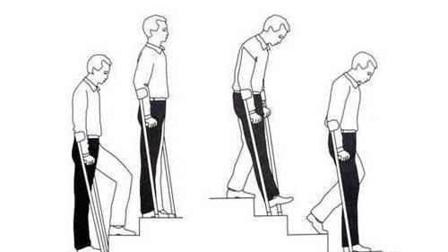 Передвижение на костылях по лестнице