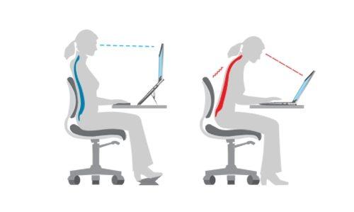Правильное положение при работе с ноутбуком