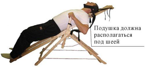 Расположение подушки для шеи на качели Яловицына