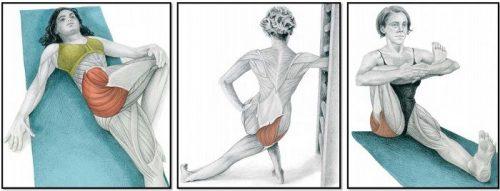 Растяжение мышц ягодиц