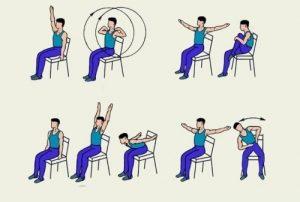 Упражнения на стуле при боли в плече