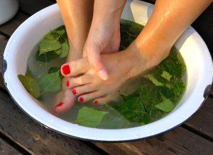 Ванночки для ног с березовыми листьями